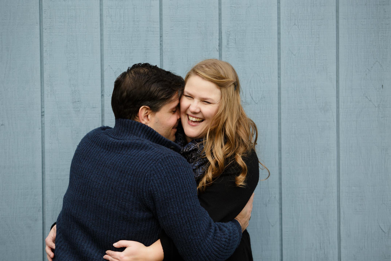 Laura + Jimmy Hug Blue wall