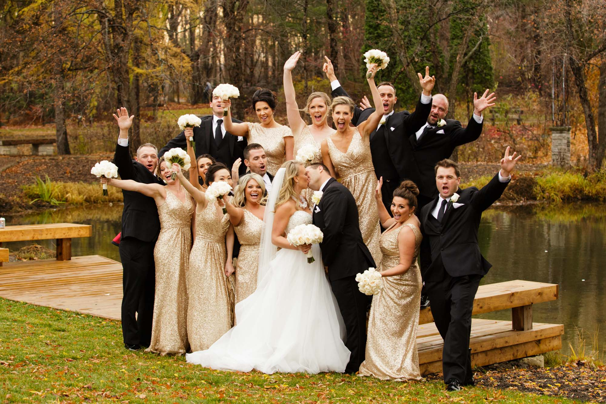 Bridal Party Kiss